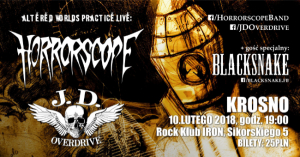 Rock Klub Iron: Horrorscope, J.D. Overdrive & Blacksnake - koncert