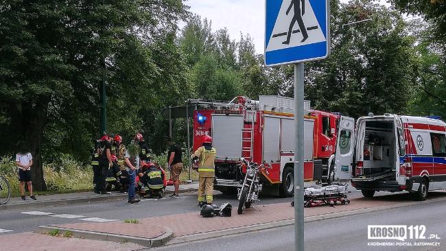 Wypadek motocyklistki na Zręcińskiej