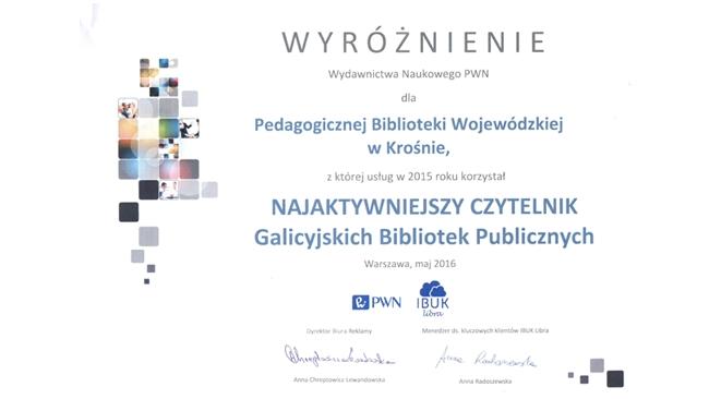 Wyróżnienie Wydawnictwa PWN dla PBW w Krośnie
