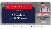 Krosno: wiec poparcia dla Andrzeja Dudy z Patrykiem Jakim