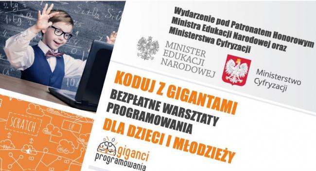 """Bezpłatne warsztaty """"Koduj z Gigantami"""" już niedługo w Krośnie. Trwają zapisy! Liczba miejsc ograniczona"""